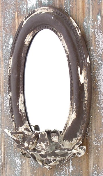 Antique Iron Oval Wall Hanging Mirror with Bird Detail