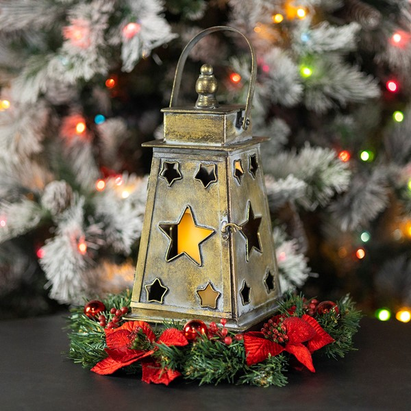 Star Cutout Lantern in Frosted Gold