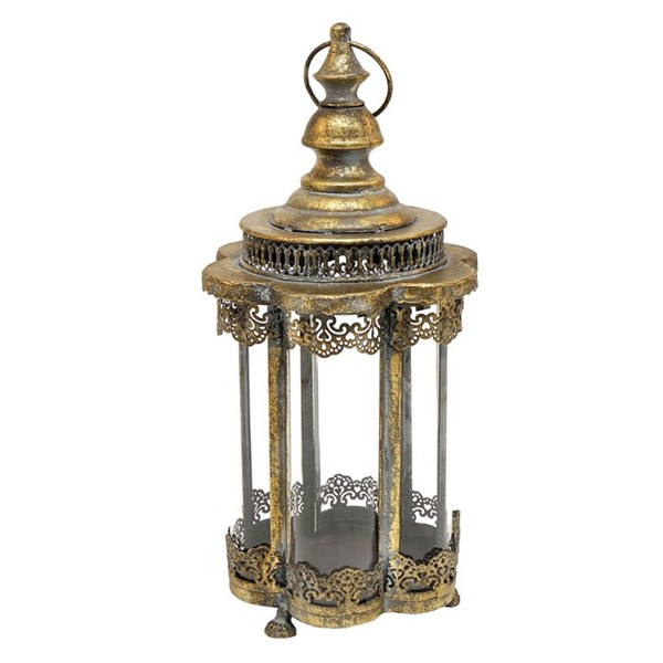 "16"" LANTERN W/ SEVERAL CURVED GLASS PANES"