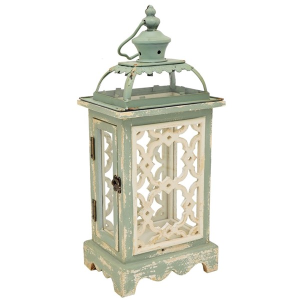 Iron & Wood Garden Lantern with Soft Antique Finish