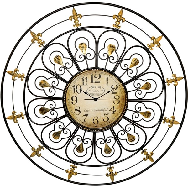 Zaer Traditional Gold and Black Wall Clock