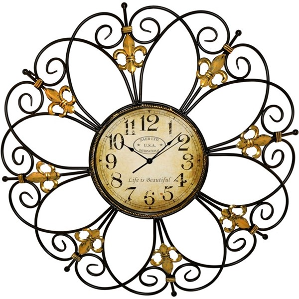 "Classic Black and Gold 32"" Zaer Wall Clock"