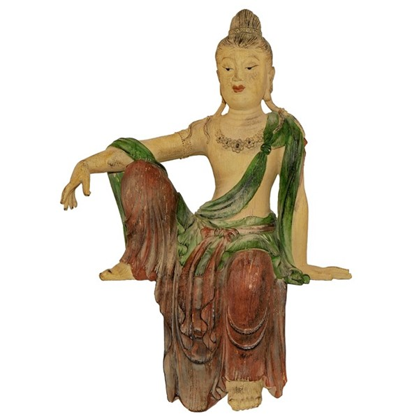 Thai Sitting Painted Buddha Statue with Hanging Leg