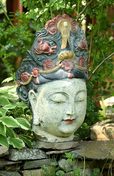 Large Lady Buddha Head Polyresin Statue