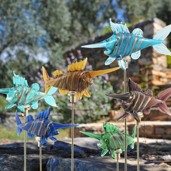 Set of 6 Glass Swordfish on Gold-Plated Iron Pot Stick