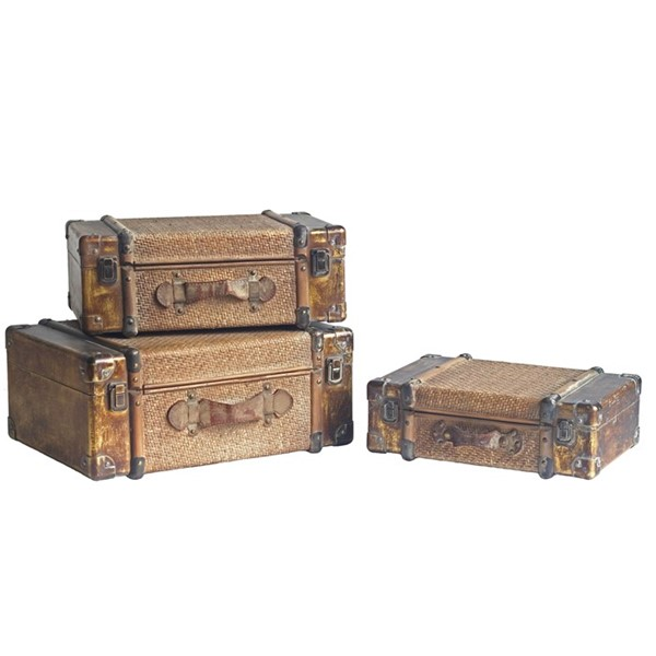 Set of 3 Bamboo Finished Suitcase Decor