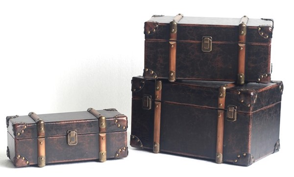 Set of 3 Old Style Antique Leather Suitcase Decor