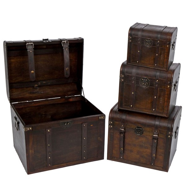 Set of 4 Old Style Wooden Trunk Decor
