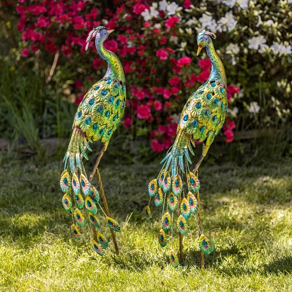 IRON PEACOCKS SET OF 2  WITH BLUE COLORFUL FINISH