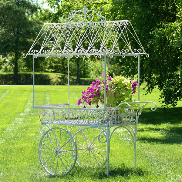 "Large Antique White Flower Cart with Roof & Moving Wheels ""Paris 1968"""