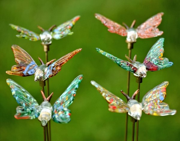 Set of 6 Glass Butterflies on Gold-Plated Iron Pot Stick
