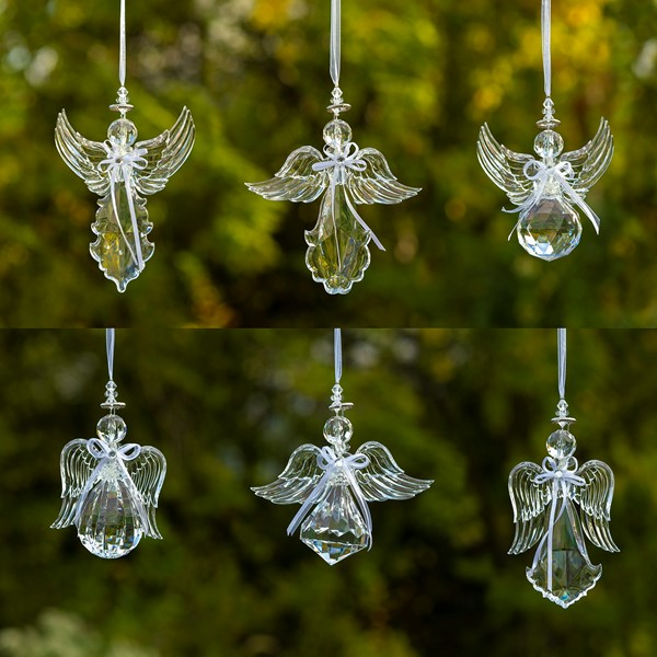 6 ASSORTED STYLE ACRYLIC ANGEL ORNAMENTS IN CLEAR