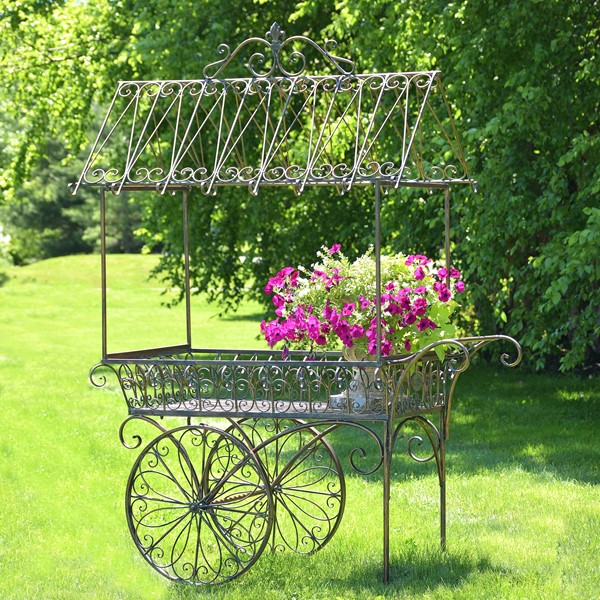 "Large Bronze Flower Cart with Roof & Moving Wheels ""Paris 1968"""
