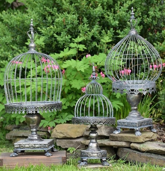 Set of 3 Caged Candle Holders with Looking Glass Base