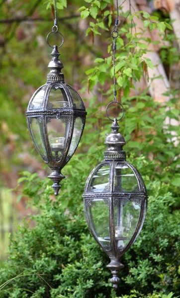 "Set of 2 Hanging Iron Lanterns ""Paris 1968"" with Handmade Chain"
