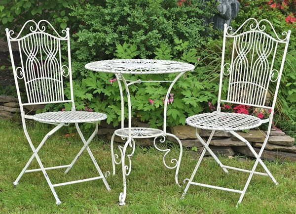 SET OF 3 BISTRO, 2 FOLDING CHAIRS AND ONE ROUND TABLE