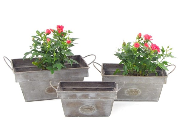 SET OF 3 RECTANGULAR IRON PLANTERS WITH HANDLES