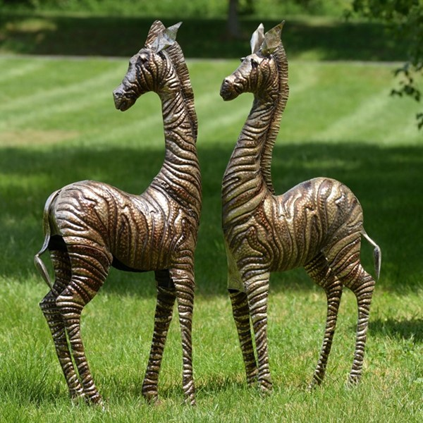 SET OF 2 IRON STANDING ZEBRAS IN SILVER GOLD METALLIC COLOR FINISH