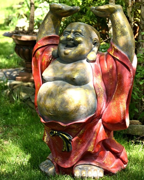 "43"" TALL MAGNESIUM HAPPY BUDDHA ANTIQUE RED FINISH ""HAROLD"""