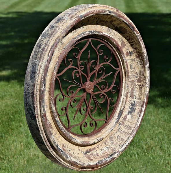 ROUND WOODEN WALL FRAME WITH IRON DECOR IN BARCELONA RED COLOR FINISH