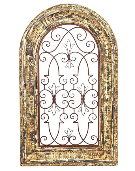 ARCHED WINDOW, WOODEN WALL FRAME WITH IRON DECOR IN BARCELONA RED COLOR FINISH