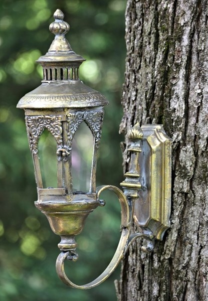 "Old Style Wall Hanging Lantern ""Paris 1968"" in Frosted Gold"