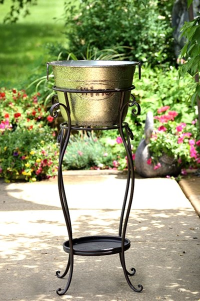"Iron Beer & Wine Ice Bucket Stand ""Marloni"" with Galvanized Metal Bucket"