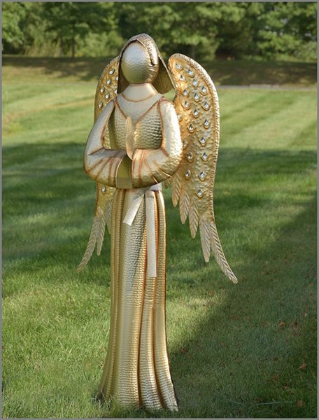 "Soft Metallic Gold Standing Iron Angel ""Tania"" Praying"