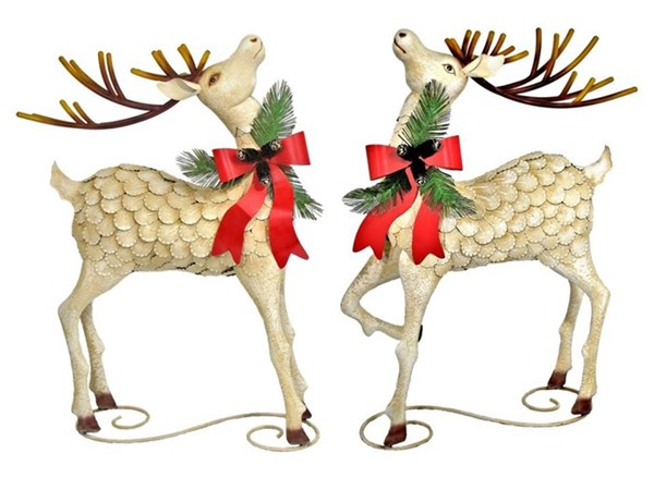 SET/2 LARGE IRON CHRISTMAS REINDEER