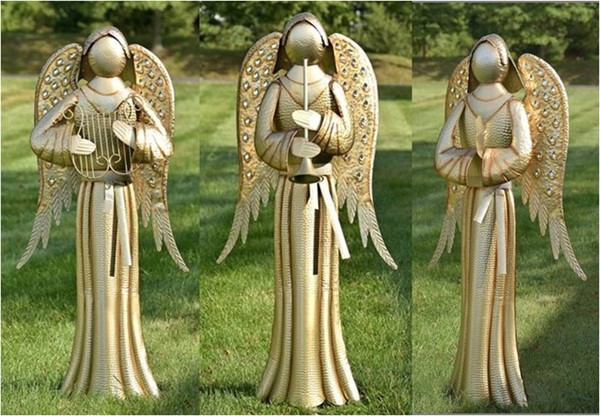 "Set of 3 Soft Metallic Gold Iron Standing ""Tania"" Angel Statues"