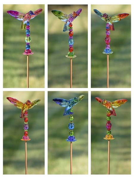 "6 ASSORTED COLORS 54"" TALL 5-TONE ACRYLIC HUMMINGBIRD GARDEN STAKES"