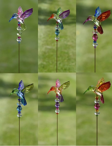 "5-TONE ACRYLIC HUMMINGBIRD POT STAKES 22"" TALL, 6 ASST. COLORS"