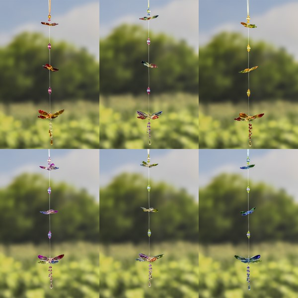 Five Tone Hanging Acrylic 3-Piece Butterfly Chain in 6 Assorted Colors