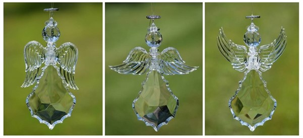 Clear Acrylic Angel Ornaments in 3 Assorted Styles
