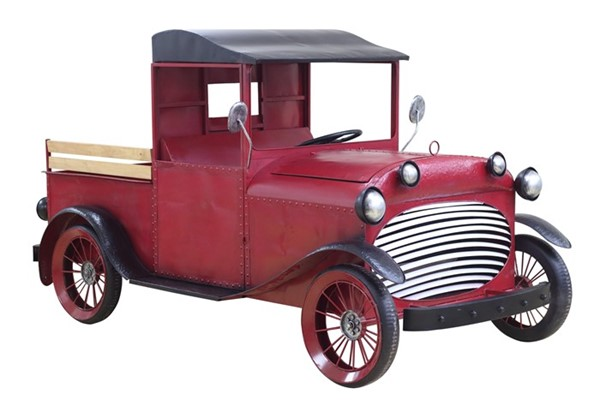 "LARGE OLD STYLE RED TRUCK WITH MOVING WHEELS ""STOCKTON"""