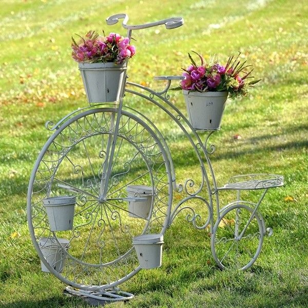 High Wheel Bicycle Planter in Antique White