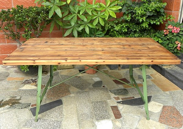 Wooden Top Antique Iron Table