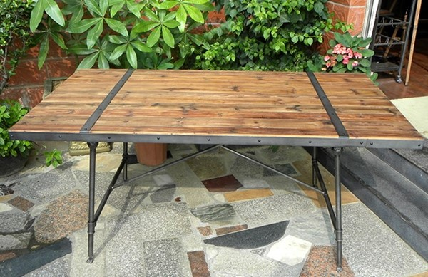 Classic Wooden Top Iron Table with Metal Trim