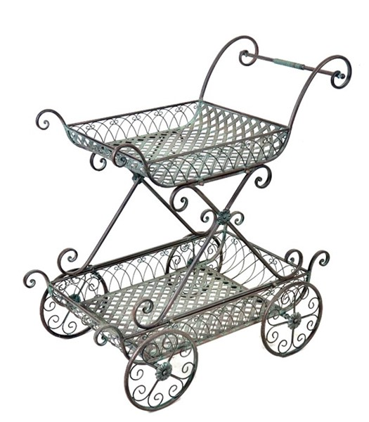 2 TIER FLOWER CART PLANT STAND WITH MOVING WHEELS GREEN BRONZE COLOR FINISH