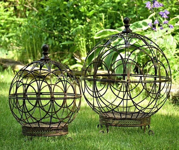 Set of 2 Iron Globe Plant Stands with Antique Rust-Colored Finish