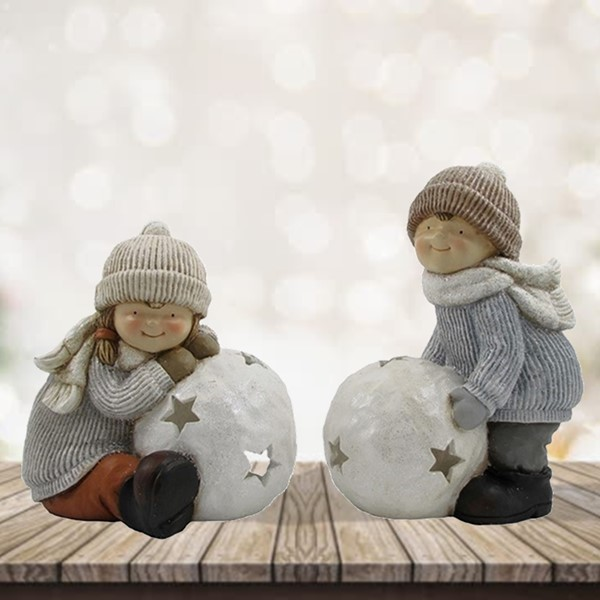 SET OF 2 TUSHKAS PLAYING IN THE SNOW CANDLEHOLDER