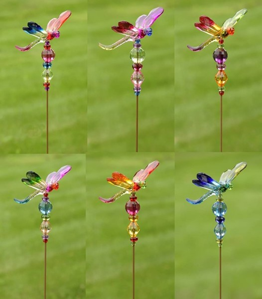"5-TONE ACRYLIC DRAGONFLY POT STAKES 22""T, 6 ASST. COLORS"