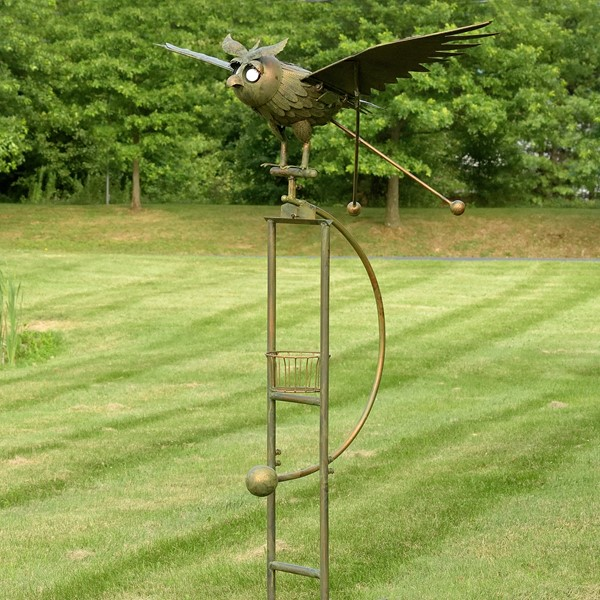 "Large Rocking Owl ""Winston"" with Solar Eyes & Moving Wings Garden Stake"