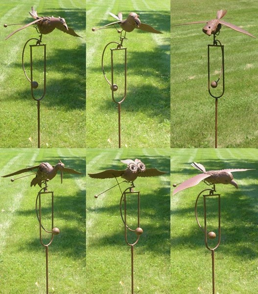 SET OF 6 ROCKING BIRD STAKE WITH GLIDING WINGS