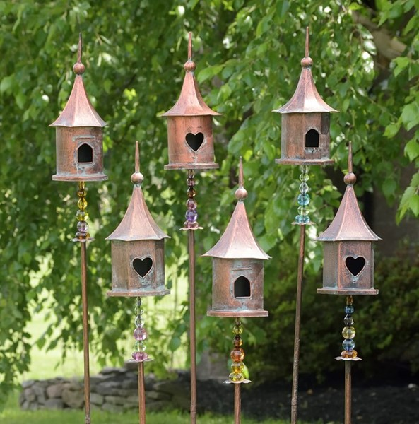 SET OF 6 BIRD HOUSE STAKES WITH ACRYLIC