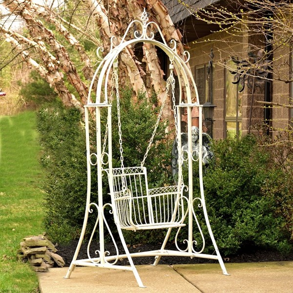 """Oasis"" Iron Garden Swing Chair in Antique White"