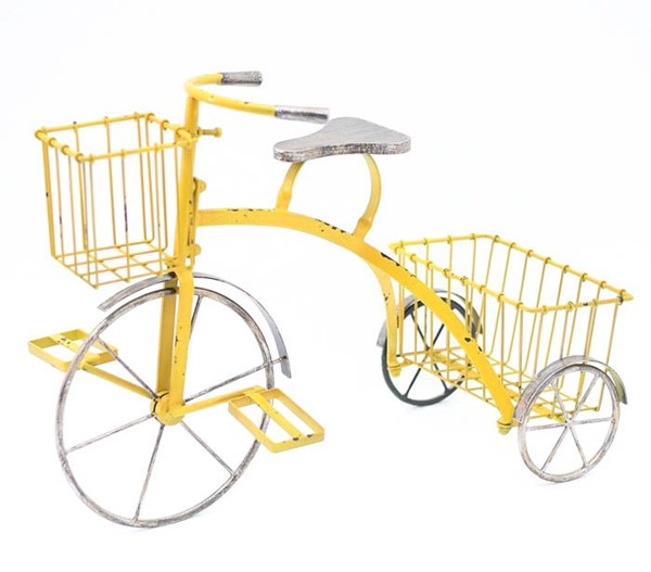TRICYCLE PLANT STAND, YELLOW