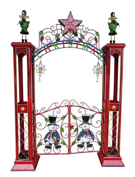 Large Iron Christmas Gate with Arch and LED Lights