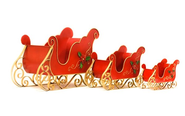 SET OF 3 SMALL IRON CHRISTMAS SLEIGHS