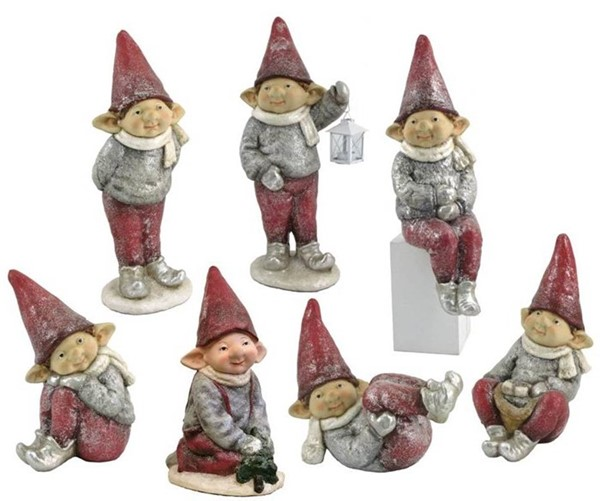 "Set of 7 Red Hat Christmas Elves ""The Connors"""